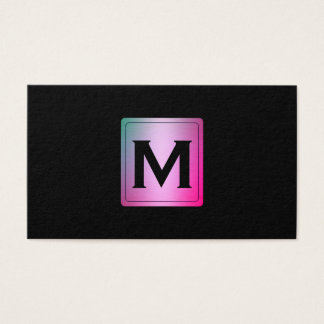 Colorful Metallic Label with Monogram Business Card