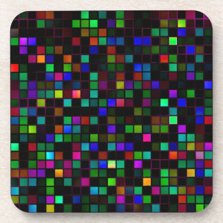 Colorful Meteor Shower Squares Pattern Beverage Coasters
