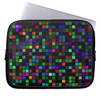 Colorful 'Meteor Shower' Squares Pattern Laptop Sleeve