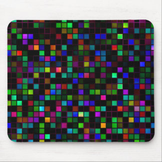 Colorful Meteor Shower Squares Pattern Mousepad