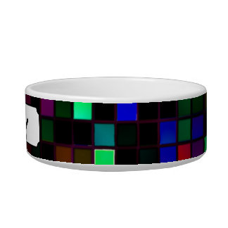 Colorful Meteor Shower Squares Pattern Pet Bowl