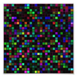 Colorful 'Meteor Shower' Squares Pattern Art Photo