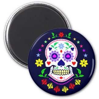 Colorful Mexican Day of the Dead Sugar Skull 6 Cm Round Magnet
