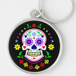 Colorful Mexican Day of the Dead Sugar Skull Silver-Colored Round Key Ring