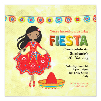 Colorful Mexican Fiesta Kids Birthday Party 13 Cm X 13 Cm Square Invitation Card