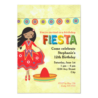 Colorful Mexican Fiesta Kids Birthday Party 13 Cm X 18 Cm Invitation Card