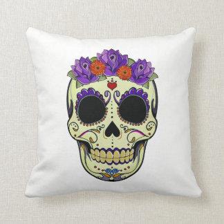 colorful Mexican skull almofada Cushion