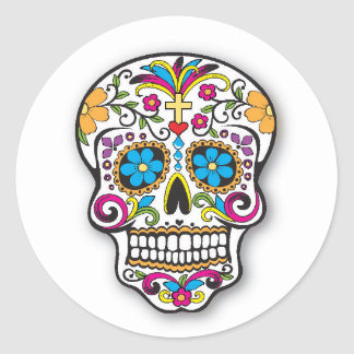 Colorful Mexican Sugar Skull Day of the Dead Classic Round Sticker