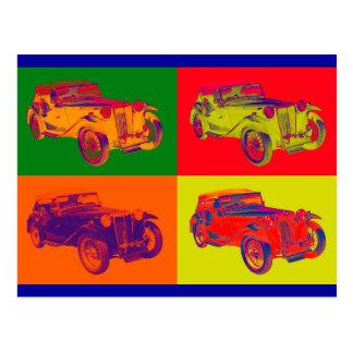 Colorful Mg Tc Antique Car Pop Art Post Card