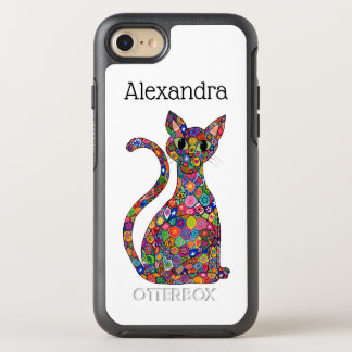 Colorful Millefiori Pattern Cat Monogram Name OtterBox Symmetry iPhone 8/7 Case
