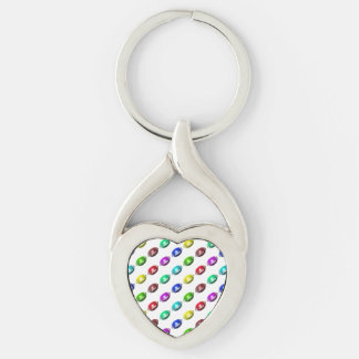 Colorful Mini Football Pattern Silver-Colored Twisted Heart Key Ring