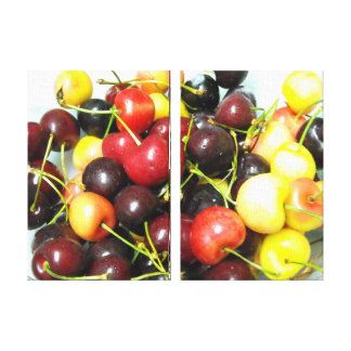 Colorful Mixed Cherries Food Canvas Wall Art Stretched Canvas Print