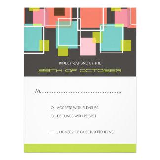 Colorful Mod Color Fun Retro Cubes Wedding RSVP Invite