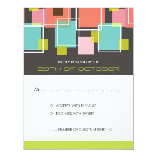 Colorful Mod Color Fun Retro Cubes Wedding RSVP Invite