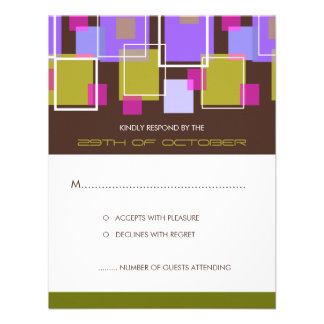 Colorful Mod Color Fun Retro Cubes Wedding RSVP Personalized Invitations