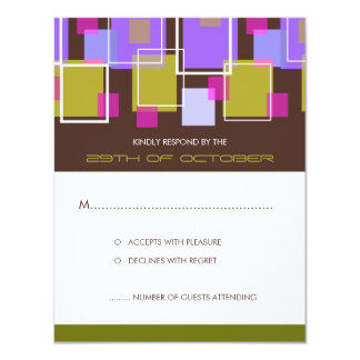 Colorful Mod Color Fun Retro Cubes Wedding RSVP Personalized Invitations