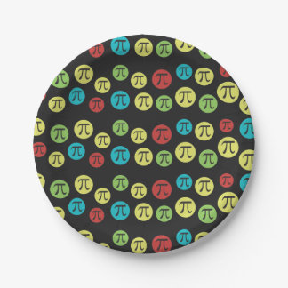 Colorful Mod Pi Symbols Math Themed Paper Plate 7 Inch Paper Plate