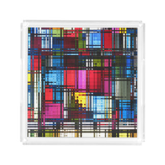 Colorful Modern Abstract Acrylic Tray