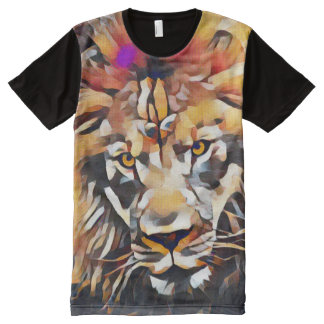 Colorful Modern African Lion Head Cubism Paint All-Over Print T-Shirt