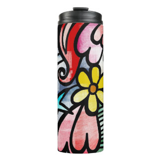 Colorful modern art print on thermal tumbler
