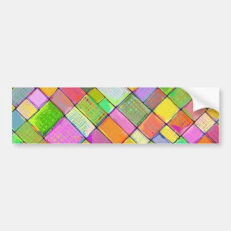 Colorful modern art quilt painting bright colors bumper sticker