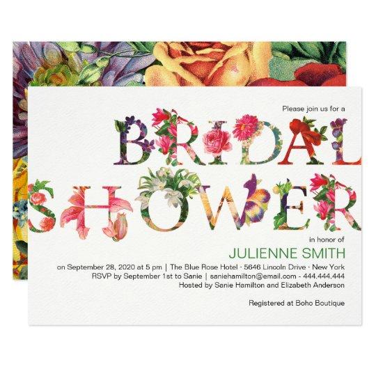 Colorful Modern Botanical Floral Bridal Shower Card
