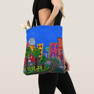 Colorful Modern Folk Art Night Cityscape Tote Bag