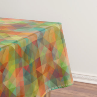 Colorful Modern Funky Retro Polygon Mosaic Pattern Tablecloth