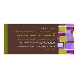 Colorful Modern Geometric Fun Retro Cubes Wedding Personalized Invite