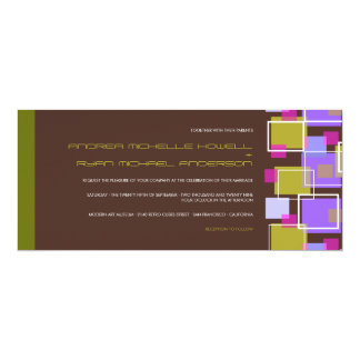 Colorful Modern Geometric Fun Retro Cubes Wedding Personalized Invite