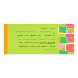 Colorful Modern Geometric Fun Retro Cubes Wedding Custom Announcements