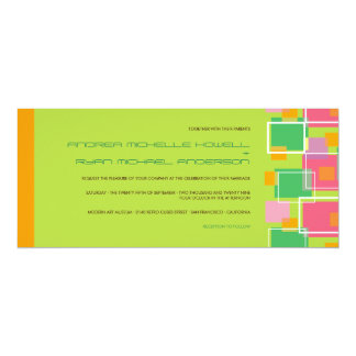 Colorful Modern Geometric Fun Retro Cubes Wedding Custom Announcements