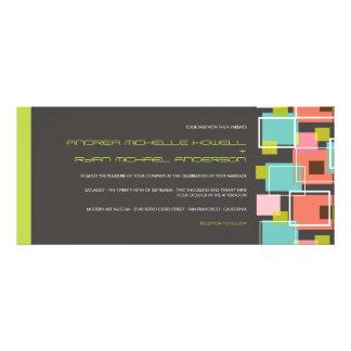 Colorful Modern Geometric Fun Retro Cubes Wedding Invitation