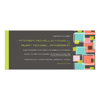 Colorful Modern Geometric Fun Retro Cubes Wedding Invitation
