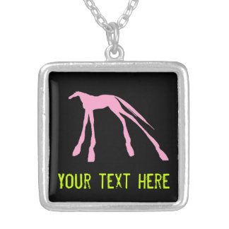 Colorful Modern Horses on Black Silver Plated Necklace