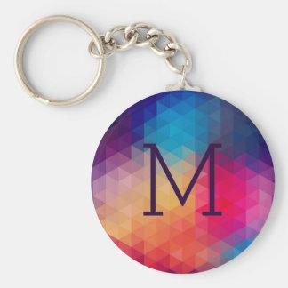 Colorful Modern Mosaic Geometric Pattern Basic Round Button Key Ring