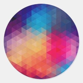 Colorful Modern Mosaic Geometric Pattern Round Sticker