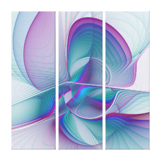Colorful Modern Pink Blue Turquoise Triptych Canvas Print