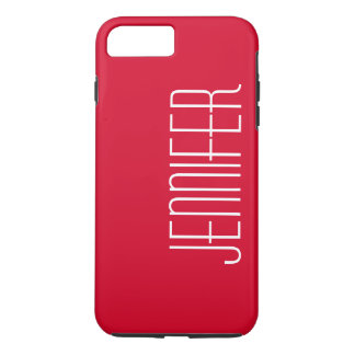 Colorful Modern Red Personalized Jumbo Name iPhone 7 Plus Case