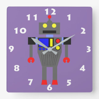 COLORFUL MODERN ROBOT WITH WHITE NUMERALS SQUARE WALL CLOCK