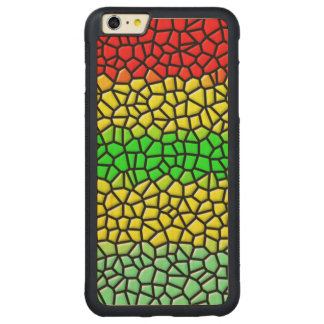 colorful modern stained glass carved maple iPhone 6 plus bumper case