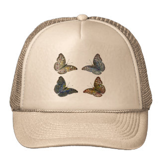 Colorful Modern Trendy Colors Butterflies Drawing Cap