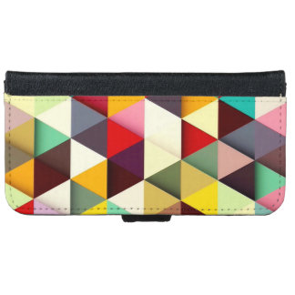 Colorful Modern Triangle Pattern iPhone 6 Wallet Case