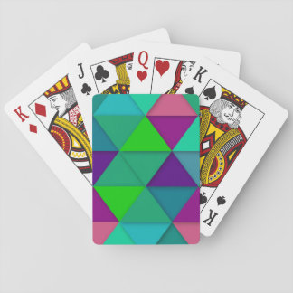 Colorful Modern Triangles Mosiac Playing Cards