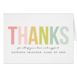 Colorful Modern Typography | Graduation Thank You Greeting Card