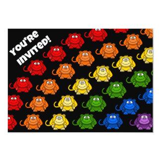 Colorful Monkey Rainbow Children's Birthday Party 13 Cm X 18 Cm Invitation Card
