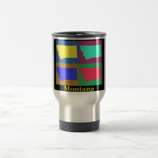 Colorful Montana State Pop Art Map Stainless Steel Travel Mug