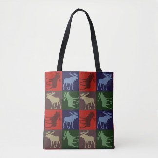 Colorful moose pattern print all over tote bag