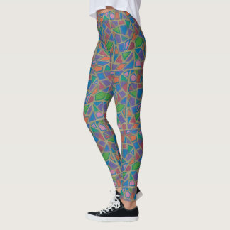 Colorful Mosaic and Gold Leggings