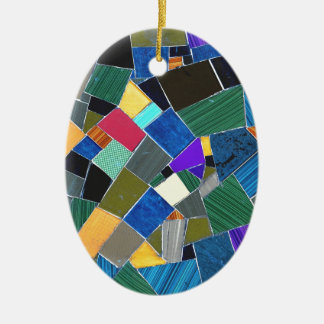 Colorful mosaic ceramic oval decoration
